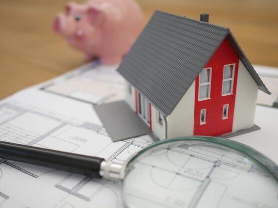 Plan domu, lupa i świnka skarbonka